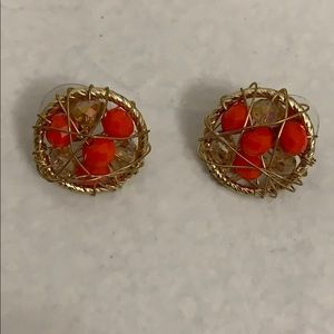 Earrings golden color with orange & clear beads